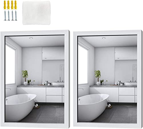 Schliersee Wall Mirror 18×24 inch, Hanging Rectangular White Mirrors for Bathroom, Living Room, Bedroom, 2 Packs