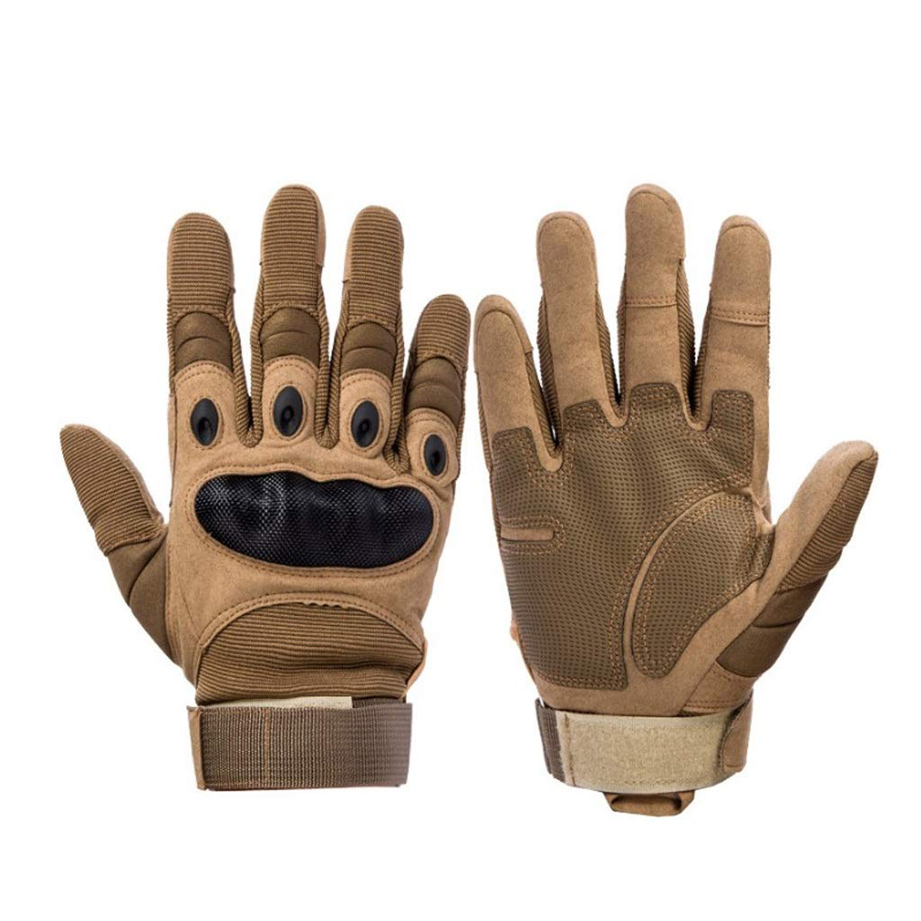 AsDlg Outdoor Gloves Full Finger Cycling Motorcycle Gloves for Motorcycle Climbing Shooting Driving Skiing Outdoor Sports Light Cycling with Velcro (Color : Tan, Size : M)