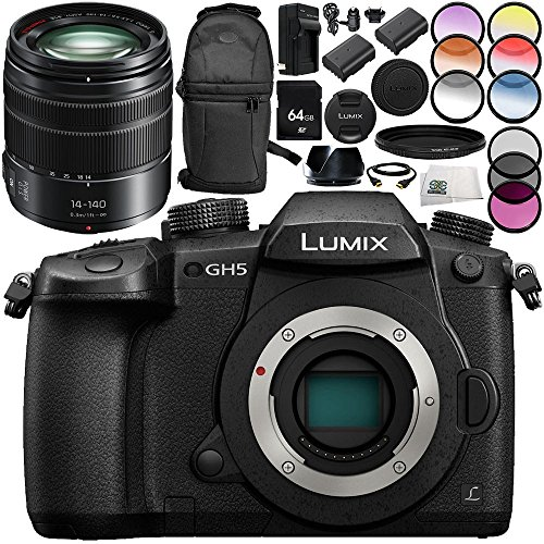 Panasonic Lumix DC-GH5 Mirrorless Micro Four Thirds Digital Camera with Panasonic Lumix G Vario 14-140mm f/3.5-5.6 ASPH. POWER O.I.S. Lens 15PC Accessory Bundle – Includes 64GB SD Memory Card + MORE by SSE
