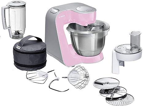 Bosch CreationLine MUM58K20 - Robot de cocina, 1000 W, recipiente de 3.9 litros, color rosa y plateado: 223.58: Amazon.es: Hogar