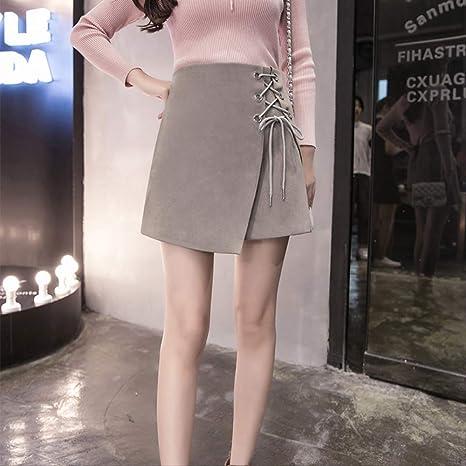 GDNTCJKY Faldas para Mujer Falda Ajustada Sólido Cintura Alta ...