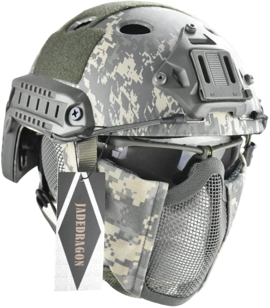Image of the Jadedragon PJ Tactical Helmet, with Ear Protector and Half Face Mesh Mask & goggle included.