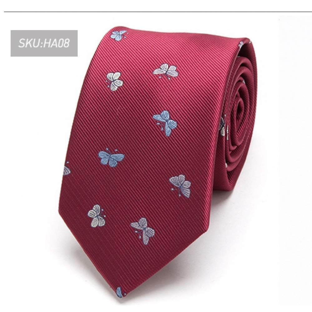LDSHAN Men's Tie Flower Bow Tie Tight Jacquard Tie Men's Wedding Business Animal 7Cm