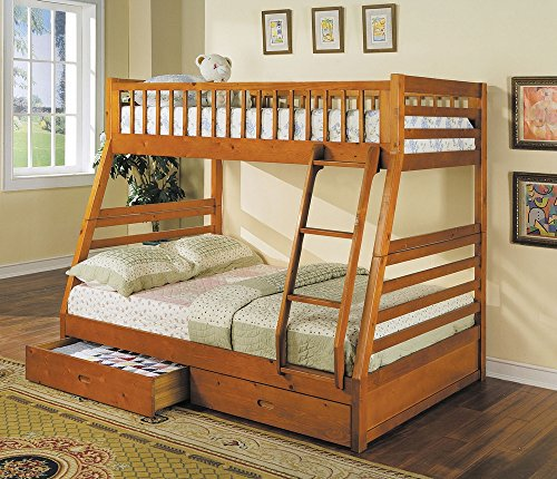 acme 02018 Jason Twin/Full Bunk Bed with Drawers, Honey Oak Finish