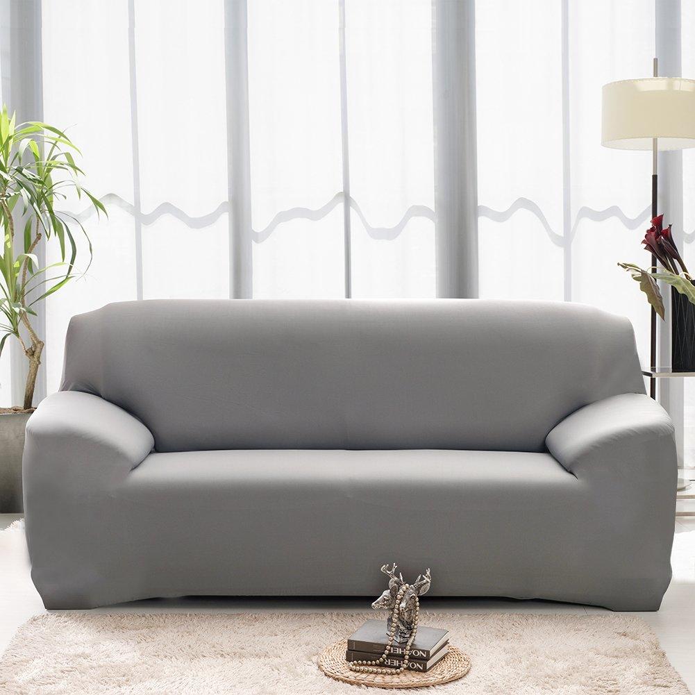 Hotniu Funda Elástica de Sofá Funda de Color Liso para sofá Antideslizante Protector Cubierta de Moda (Tres Plazas, Gris)
