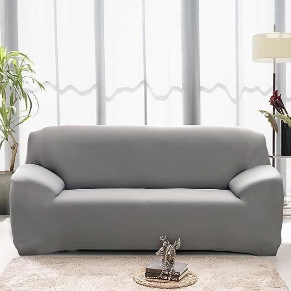 Hotniu Funda de sofá elástica, Cubre de sofá o sillón Universal, Protector Pare Sofa Muebles de 3 plazas, Gris
