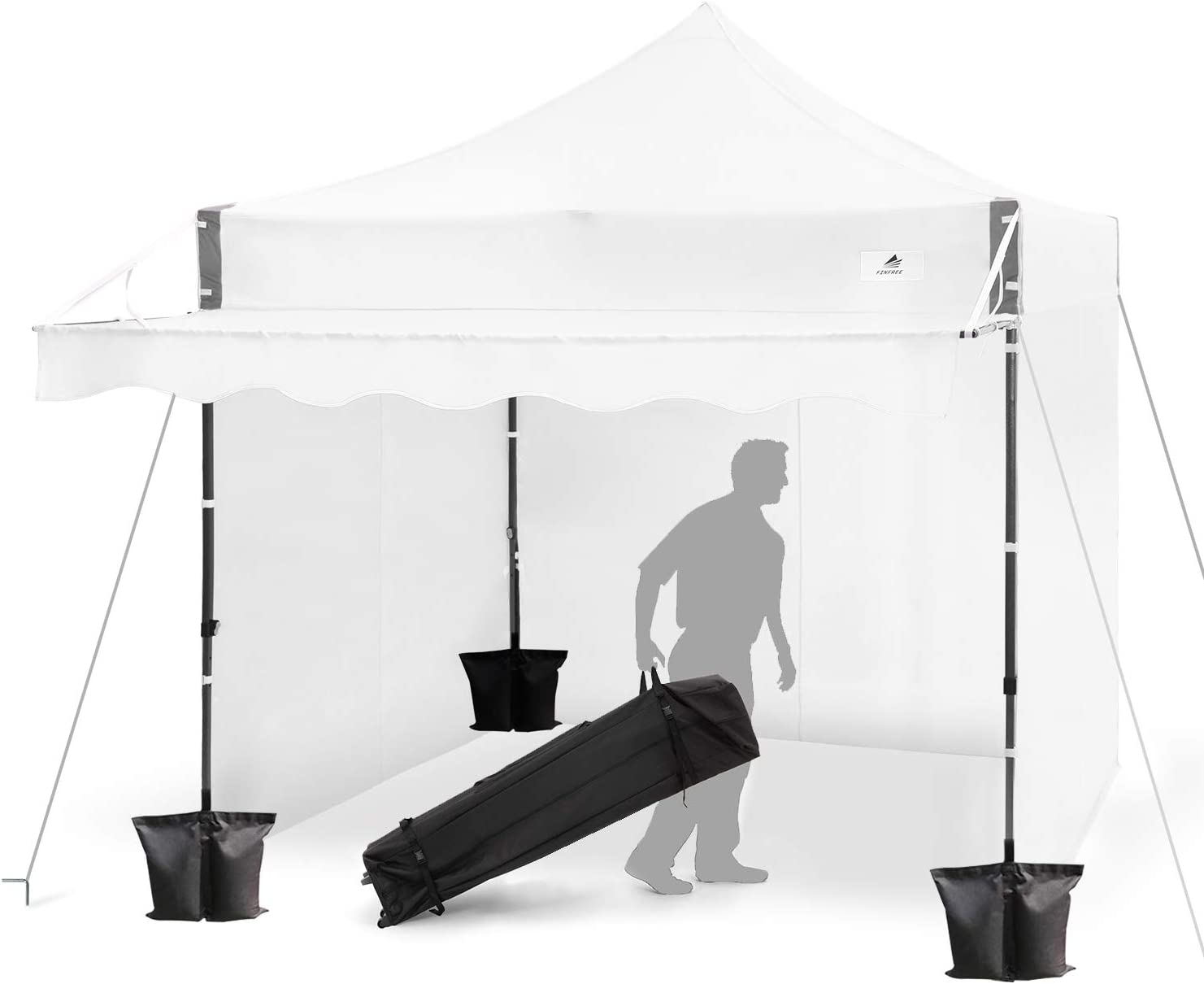FinFree 10×10 FT Pop Up Canopy Tent Commercial Instant Canopy with Awning, Roller Bag, 6 Walls and Weight Bags, White