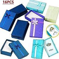16pcs carta gioielli regali scatole per gioielli mostra anelli, orologi, collane, orecchini, braccialetti confezione regalo