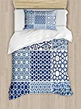Arabian Duvet Cover Set by Ambesonne, Arabesque Islamic Motifs with Geometric Lines Asian Ethnic Muslim Ottoman Element, 2 Piece Bedding Set with Pillow Sham, Twin / Twin XL, Blue White