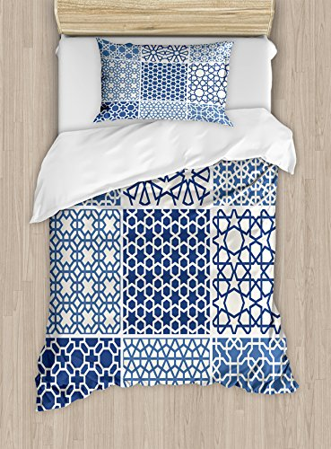 Arabian Duvet Cover Set by Ambesonne, Arabesque Islamic Motifs with Geometric Lines Asian Ethnic Muslim Ottoman Element, 2 Piece Bedding Set with Pillow Sham, Twin / Twin XL, Blue White by Ambesonne
