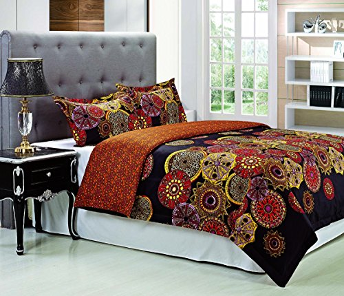 Blue Nile Mills Sunburst Duvet Cover Set, Single-Ply Authentic 300 thread Count, Full/Queen (Sheet Sunburst Set)