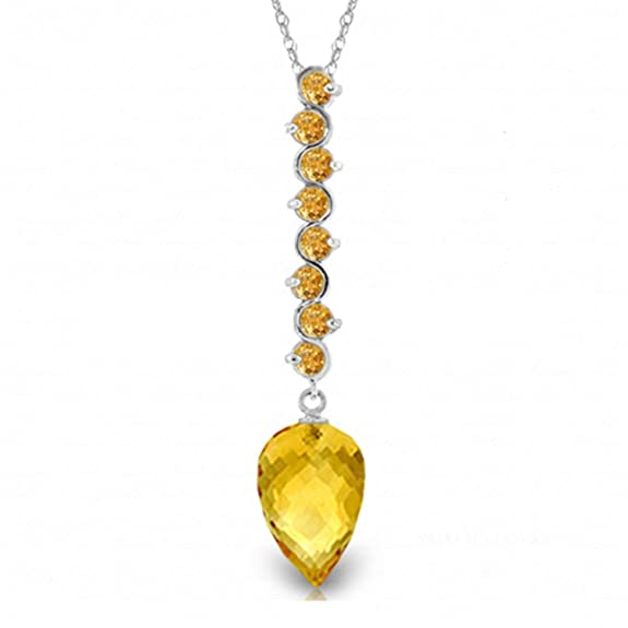 ALARRI 14K Solid Rose Gold Necklace w// Briolette Citrine with 18 Inch Chain Length