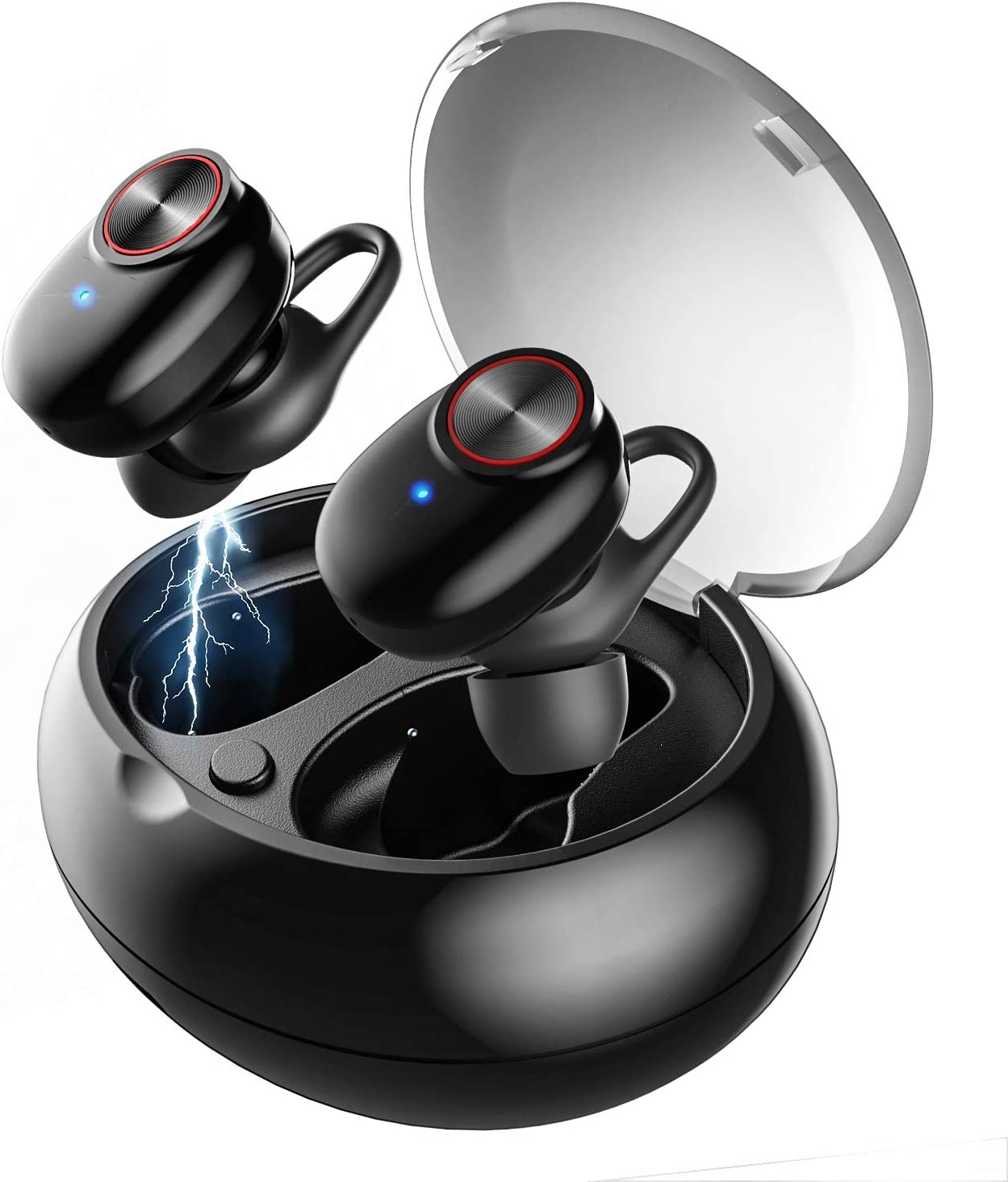UTRAI Auricular Bluetooth 5.0, Airon Auricular Bluetooth en la Oreja inalámbrico, HD Stereo, IPX5 Impermeable,2 Modos, Caja de Carga, CVC8.0 cancelación de Ruido Auricular con micrófon