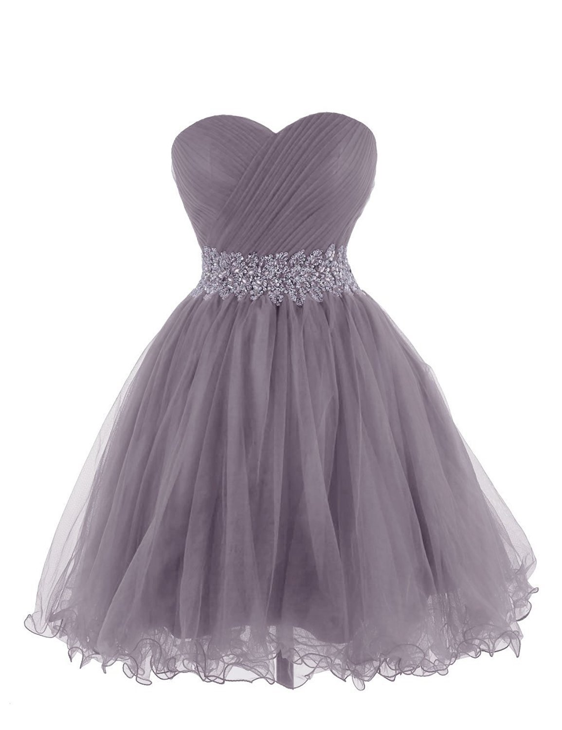 Cdress Crystal Beads Sweetheart Short Tulle Prom Dresses Homecoming Party Gowns US 8