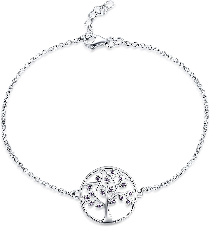 JO WISDOM Pulsera árbol de la vida plata 925 mujer con circonita cúbica AAA (Piedra de nacimiento de mayo Color esmeralda)