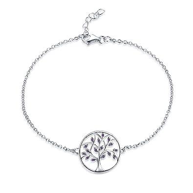 4691a7a05f50 JO WISDOM Pulsera árbol de la vida plata 925 mujer con circonita cúbica AAA  (Color