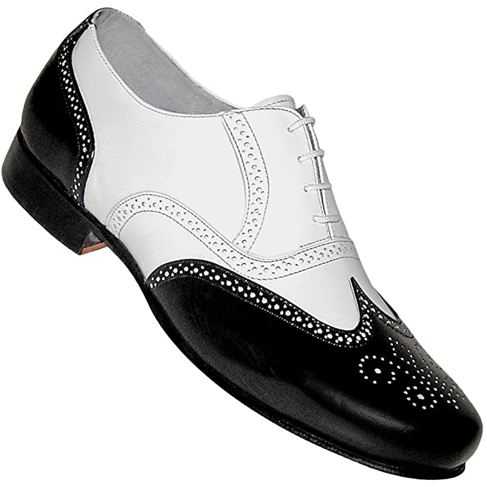 1920s Style Mens Shoes | Peaky Blinders Boots Mens 1930s Black and White Spat Style Wingtip Dance Shoe $79.95 AT vintagedancer.com