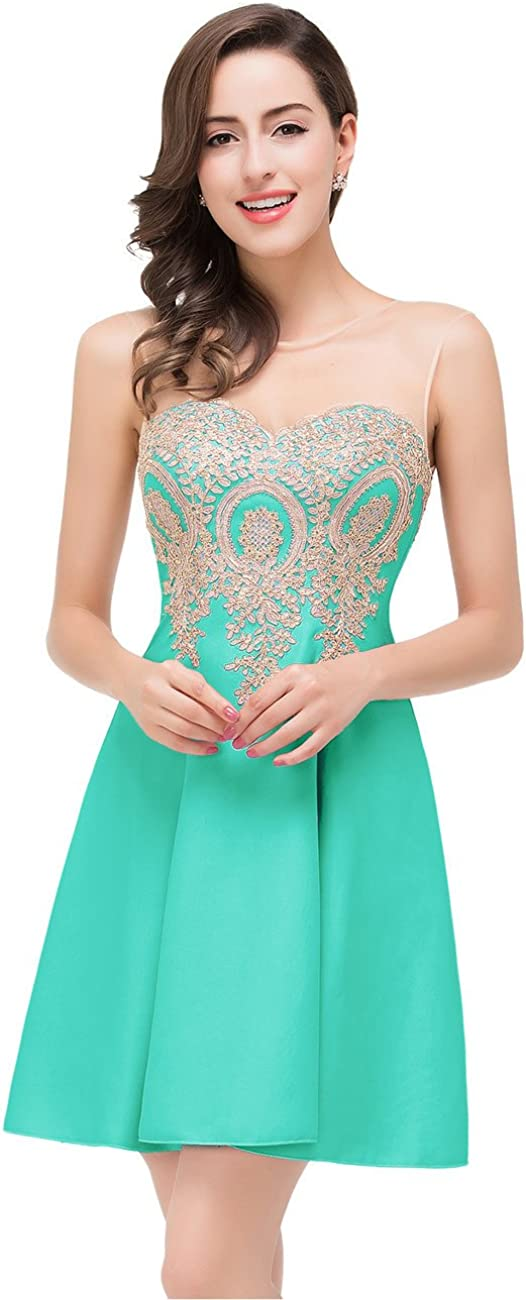 MisShow Junior's Homecoming Dress Applique Short Cocktail Prom Dresses