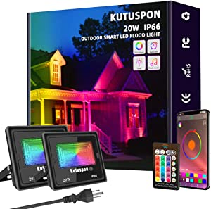 Kutuspon Smart LED Flood Lights 20W RGB Outdoor Color Changing Lights, APP Control, IP66 Waterproof, Timing, 2700K-6500K, Perfect for Garden Landscape Stage Lighting [2Packs]