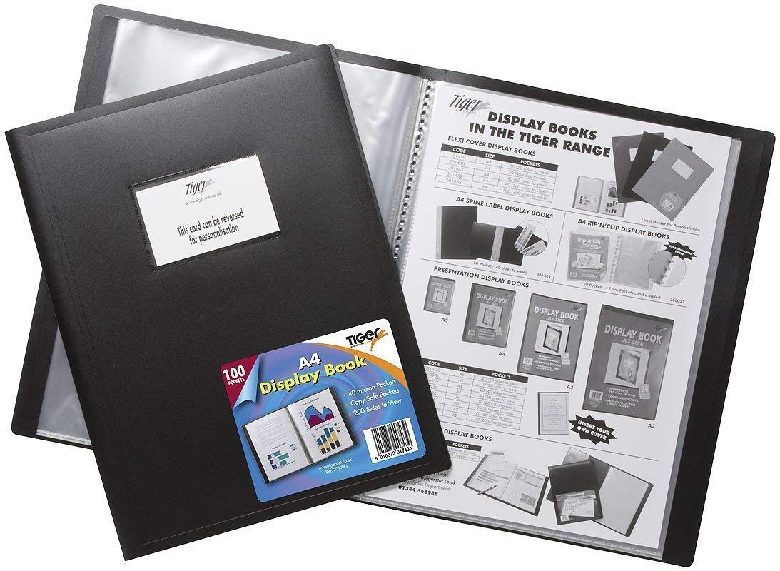 3XBlack A4 flexicover 100 Pocket Display Book Presentation Folder Flexible Cover