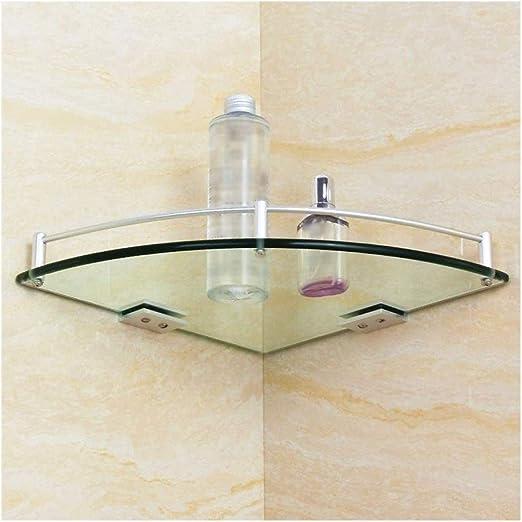 Pared Cesta de ducha Vidrio templado estante de la esquina de almacenamiento Estantes Titular de baño del estante con la base ajustable de aluminio del carril montado en la pared de perforación