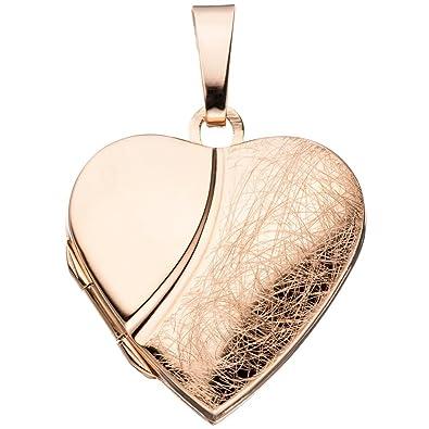 JOBO Medaillon Herz für 2 Fotos 925 Silber rotgold vergoldet Anhänger zum  Öffnen 535cbbd298