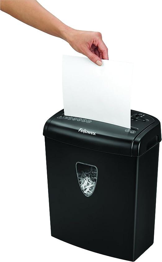 Fellowes H-8Cd - Destructora trituradora de papel, corte en partículas, 8 hojas, negro: Amazon.es: Oficina y papelería