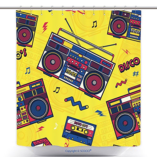 Nike Rod - vanfan-Polyester Shower Curtains Retro Pop Eighties Boombox Radio Seamless Pattern S Background Wallpaper Polyester Bathroom Shower Curtain Set Hooks(70 x 84 inches)