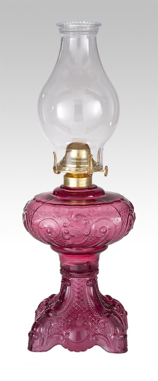 B&P Lamp Princess Feather Oil Lamp (Cranberry)
