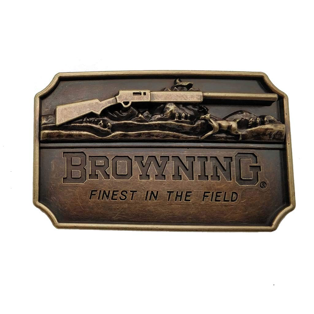 Browning 3d Finest in the Field Rifle Brass Color Belt Buckle 1-ONE