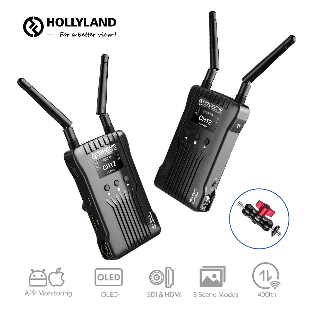 Hollyland Mars 400S Wireless SDI HDMI Video Transmission System, iOS & Android App Monitoring with OLED Display, 400ft 3 Scene Modes for External On-Camera Monitor DSLR Mirrorless Camera Gimbal by Hollyland