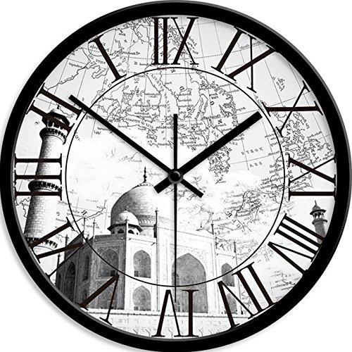 FortuneVin Wall Clock Non-Ticking Number Quartz Wall Clock Living Room Decorative Indoor Clock Bedroom Clock Kitchen Clock Area Mute Quartz Clocks 12 In India, Taj Mahal, Black Box