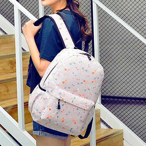 Domybest Damen-Segeltuch druckte Rucksack-Rucksack-große Kapazitäts-Reise-Tasche / hellrosa Hell-pink UCicYX