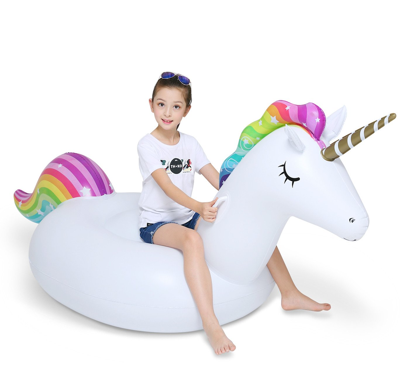 Jasonwell Big Inflatable Unicorn Pool Float Floatie Ride On with Rapid Valves Large Rideable Blow Up Summer Beach Swimming Pool Party Lounge Raft Decorations Toys Kids Adults