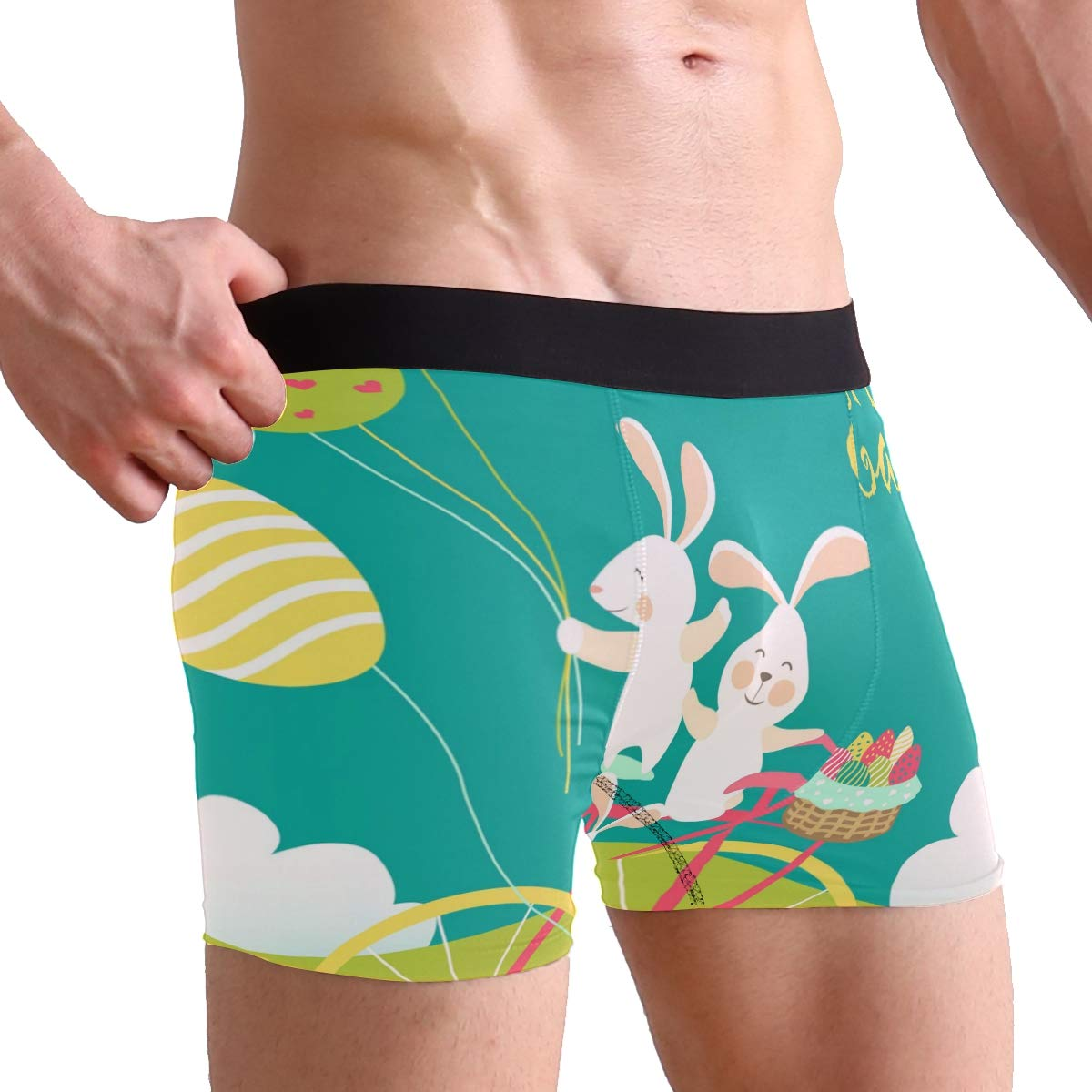 SUABO Men Boxer Briefs Polyester Underwear Men 2 Pack Boxer Briefs with Easter Bunnies Pattern
