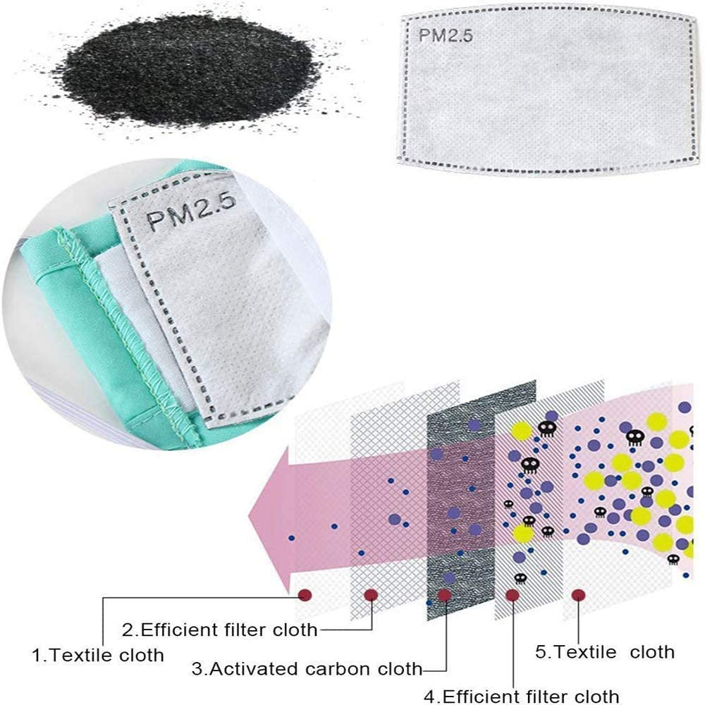 Activated Carbon Filters Non-Woven Cloth with 5 Layers Replaceable Protective Parts Filters P-M 2.5 for Women Men Kids 20pcs