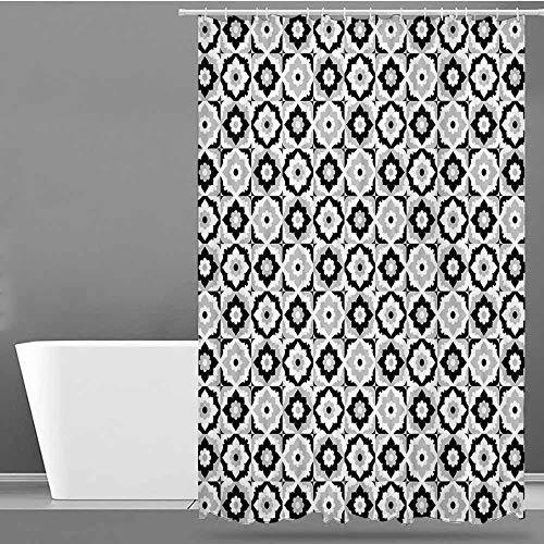 VIVIDX Bathtub Splash Guard,Quatrefoil,Black and White Ceramic Tile Design with Floral Ornaments Retro Daisies,Fashionable Pattern,W60x72L Black Grey White