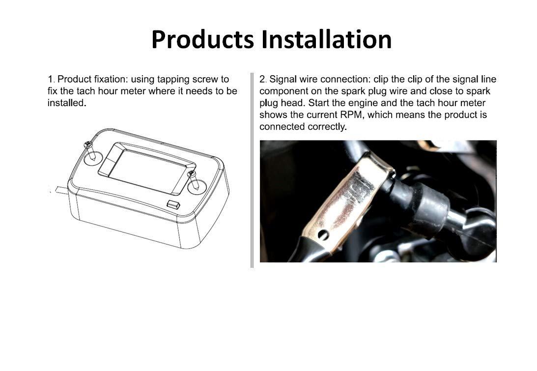 Jayron JR-HM019J Tacómetro inductivo digital LCD de gasolina para motocicleta,motocross,cortacésped,quitanieves,generador,scooter,motosierra