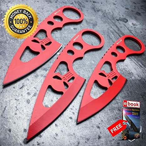 3 Pc 6 RED Ninja Punisher Skull Tactical Knife set SHEATH ...