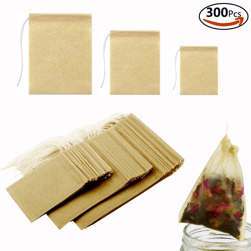DEPEPE 300pcs Tea Filter Bags Safe Natural Material Disposable Drawstring Filter Bags for Loose Tea or Flower Fruit Teas (3 Sizes)