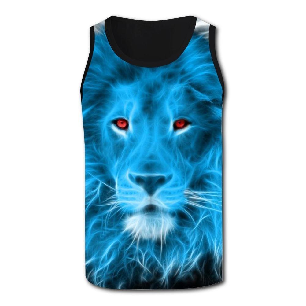 Gjghsj2 Mens Tank Top Red Eyes Lion Vest Shirts Singlet Tops Sleeveless Underwaist Walking