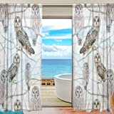 SEULIFE Window Sheer Curtain, Animal Owl Bird on Tree Branch Voile Curtain Drapes for Door Kitchen Living Room Bedroom 55x78 inches 2 Panels