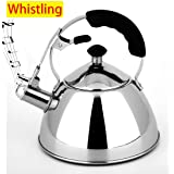 Whistling Tea Kettle - Coffee Pot Percolato Coffee Kettle 18/8 Stainless Steel Stovetop Teapot,Gas/Induction/Electric/Ceramic/Halogen/Wood Stove Teakettles (2.0 Liter)