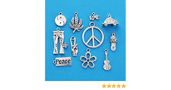 The Hippie Peace Charm Collection 11 different antique silver tone charms