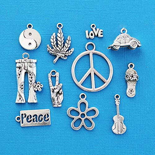 Hippie Charm Collection Antique Silver Tone 11 Different Charms Jewelry Making Supply Pendant Bracelet DIY Crafting by Wholesale Charms