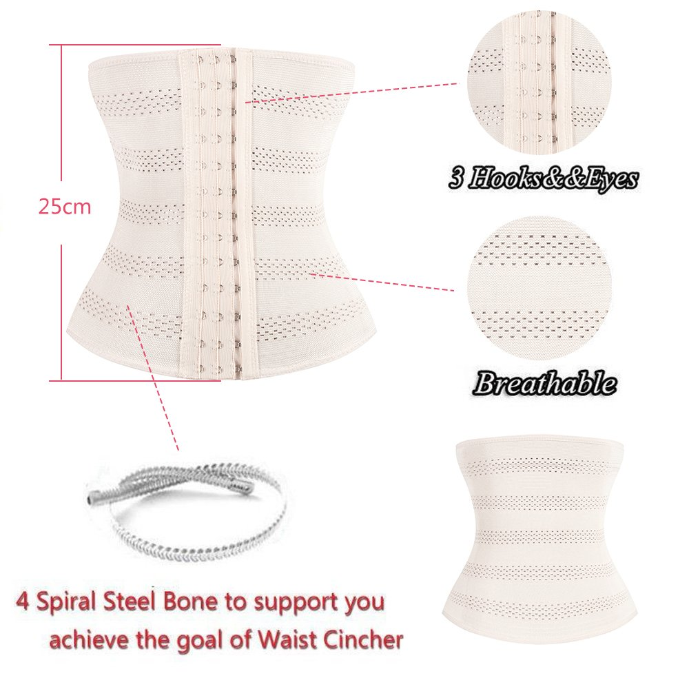 4ff5e729f9b JGOTIM XS to 7XL Breathable 3 Hooks Steel Boned Interlacement Waist Trainer  Shapewear Waist Trimmer Cincher Corset at Amazon Women s Clothing store