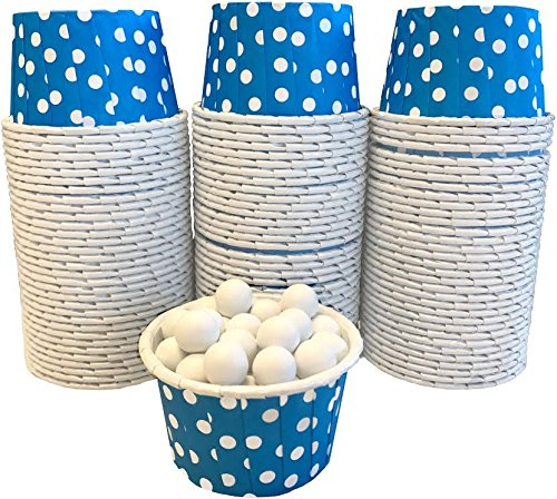 Candy Nut Mini Baking Paper Treat Cups - Blue with White Dots - Bulk 100 -