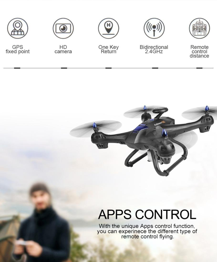 Gbell X183S 5G Drone with 1080P HD Camera WiFi FPV 6-Axis Gyro GPS Drone LED Follow Me - Large RC Quadcopter - Best Birthday New Year Gifts for Boys Girls Kids Adults,Black White (Black) by Gbell (Image #6)