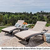 Savana 3Pc Outdoor Wicker Lounge with Water Resistant Cushions & Coffee Table (MultiBrown/Brown&WhiteStripes)