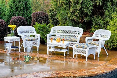 Tortuga Portside 6 Piece Wicker Outoor Seating Set, White Wicker, Miranda Chamomile Fabric (Furniture Dining Set Hom)